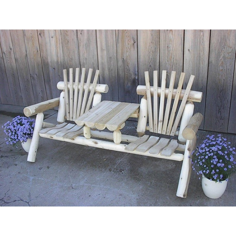 White Cedar Log Settee with Center Table