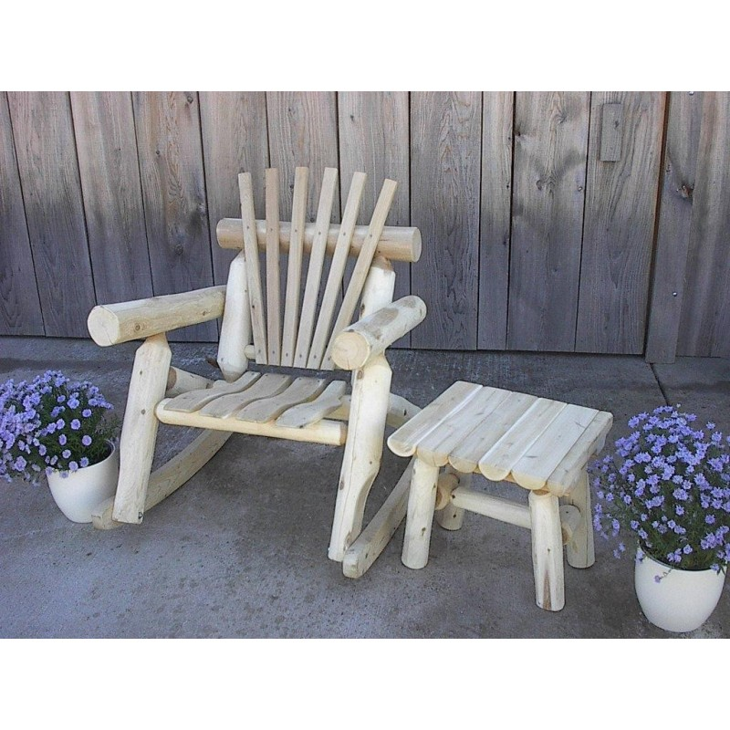 Unfinished White Cedar Log Rustic Rocking Chair / Porch Rocker