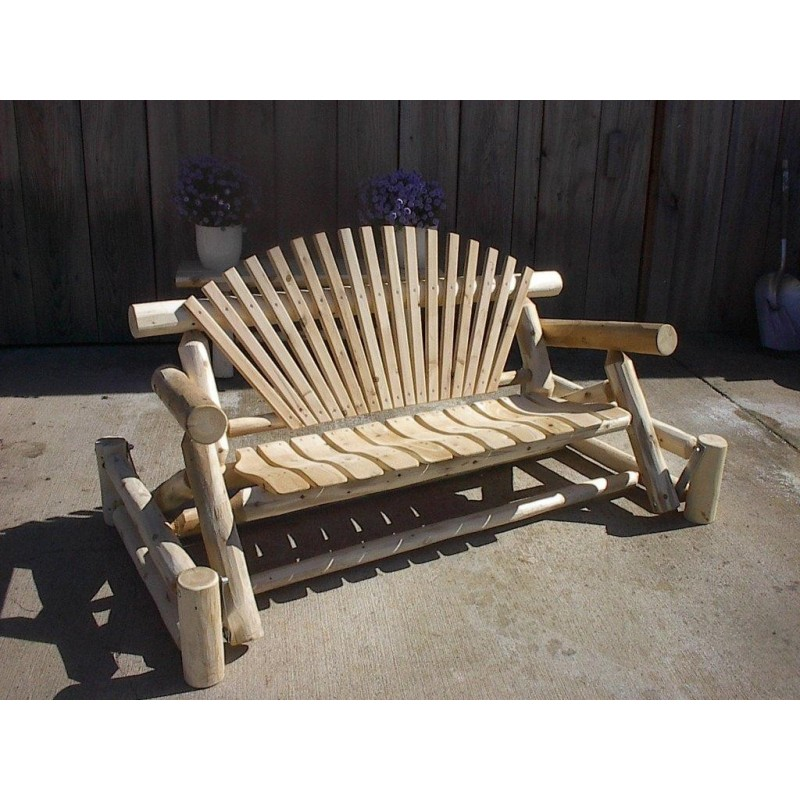 Unfinished White Cedar Log Rustic Porch Glider 5 Ft.