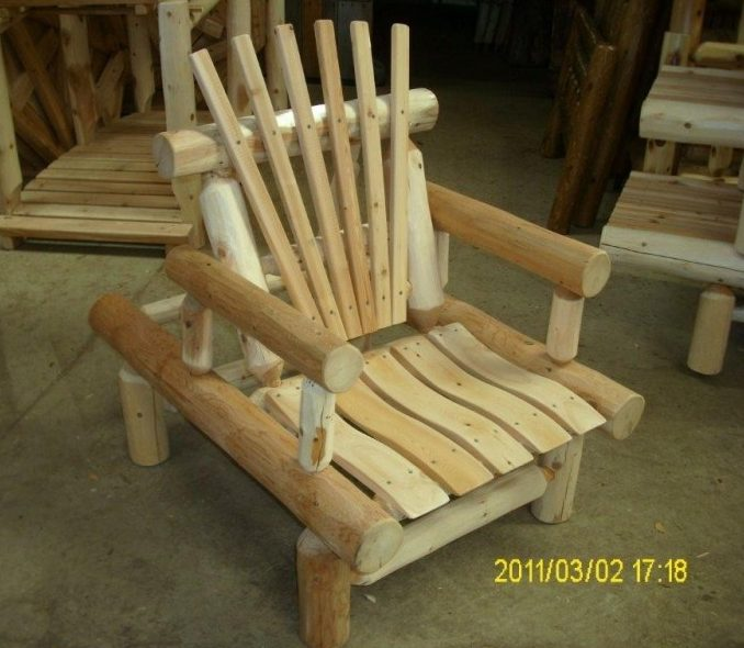 Unfinished White Cedar Log Rustic Adjustable Recliner Chair