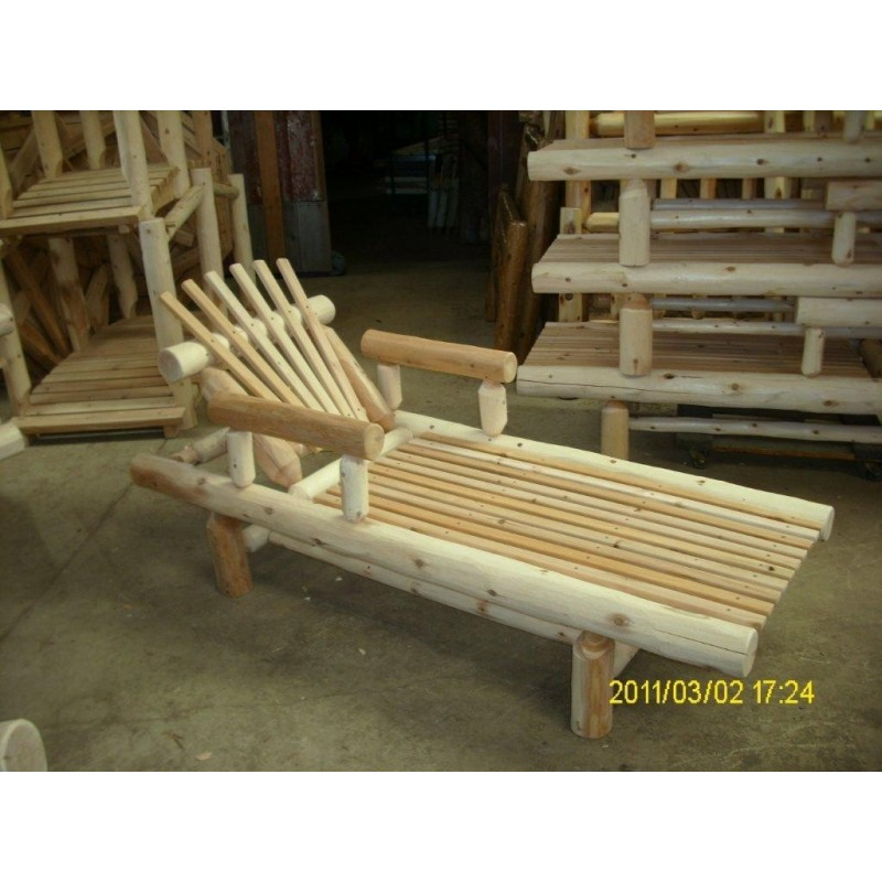 Unfinished White Cedar Log Rustic Chaise Lounge – Adjustable