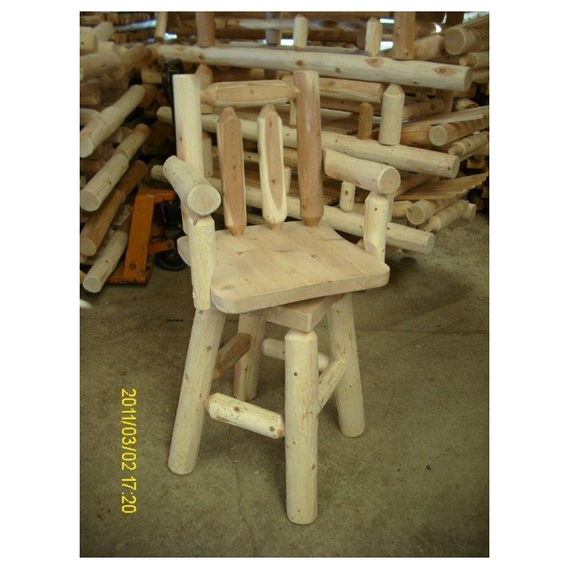 White Cedar Log Rustic Swivel 30″ Bar Stool With Arms