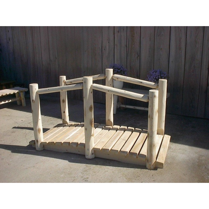 White Cedar Log Decorative Garden Bridge – Rustic Style
