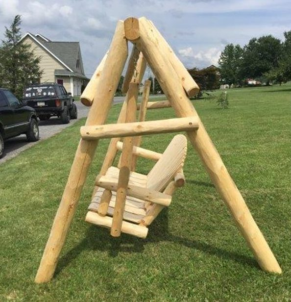 Unfinished White Cedar Log Rustic Porch Swing And A- Frame