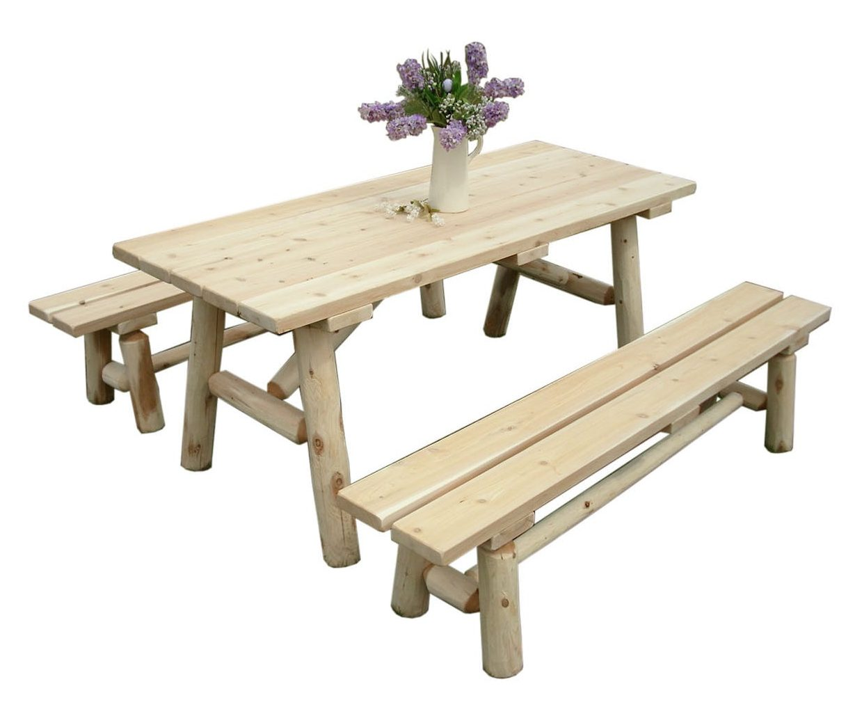 Unfinished White Cedar Log Traditional Picnic Table With Detached Benches