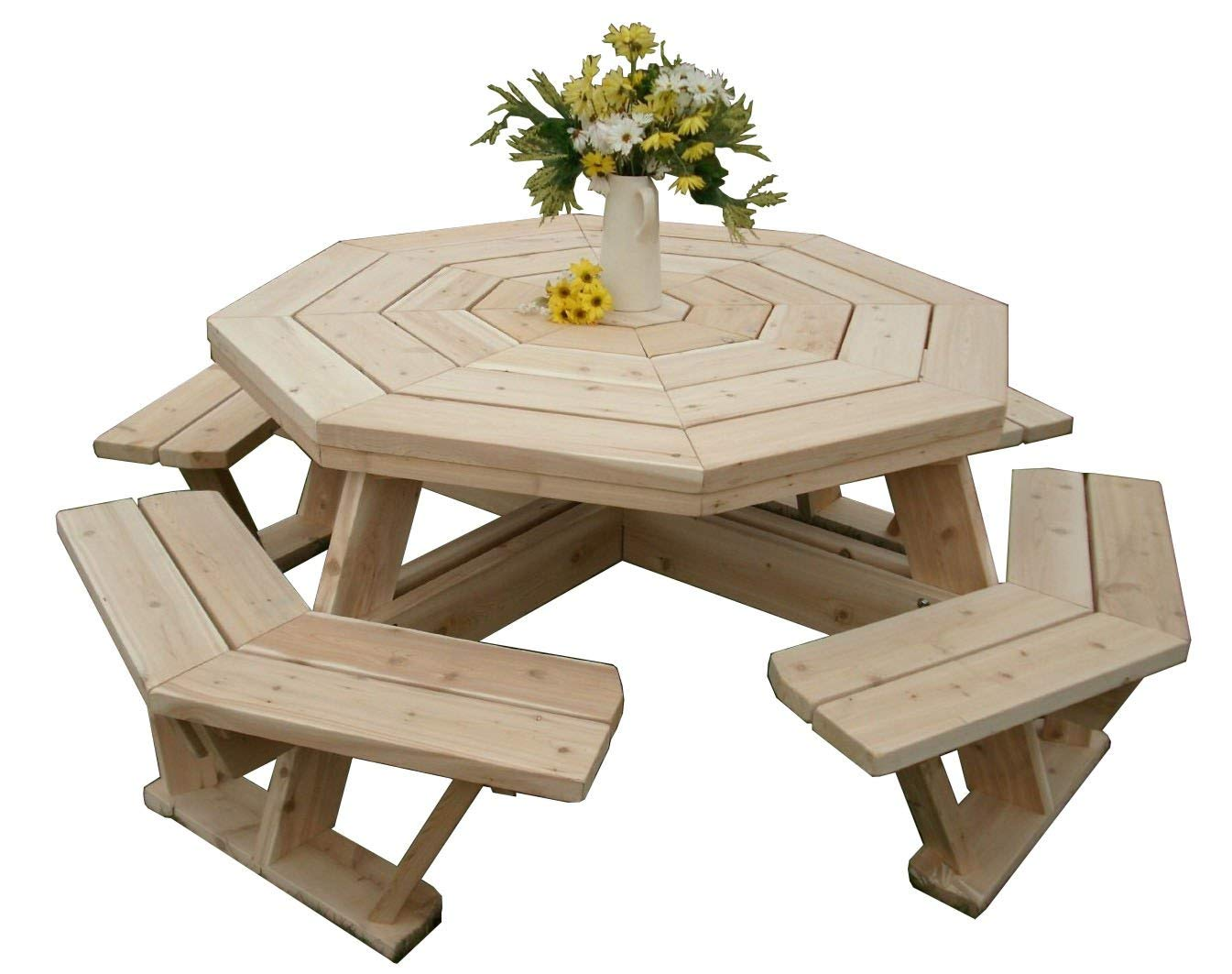 White Cedar Octagon Picnic Table – Small, Medium, And Large