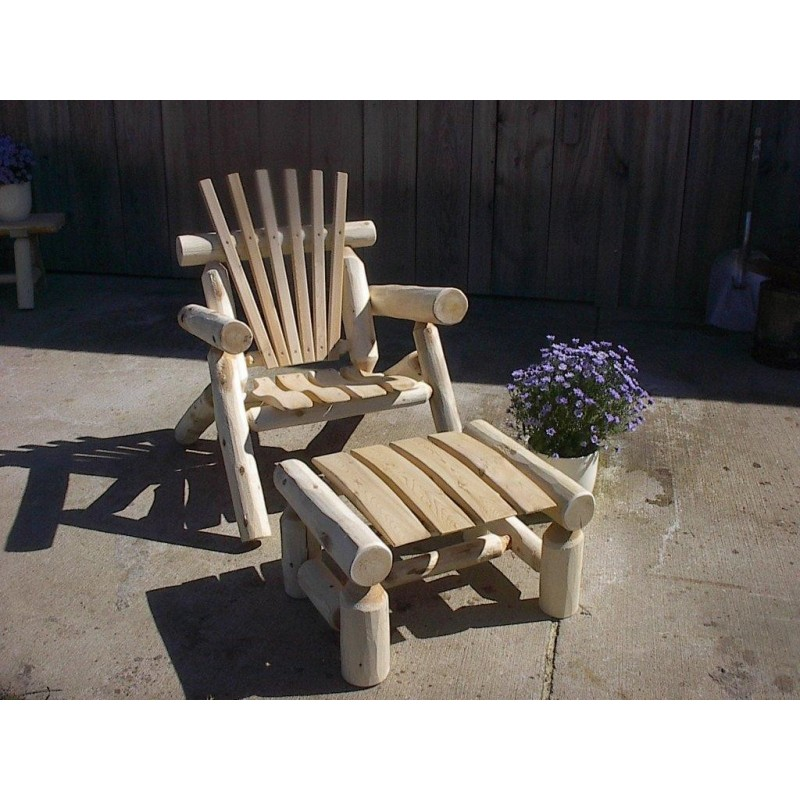 White Cedar Log Rustic Lawn Chair (ottoman not included)