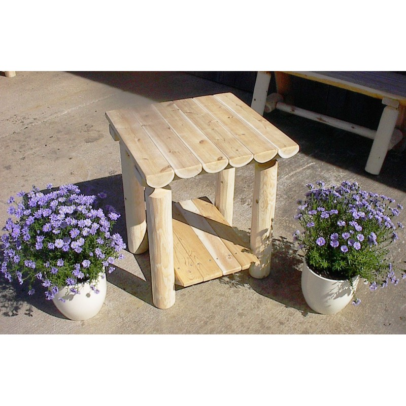 White Cedar Log Rustic Two Tier End Table