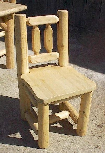 White Cedar Log Rustic Dining Chair