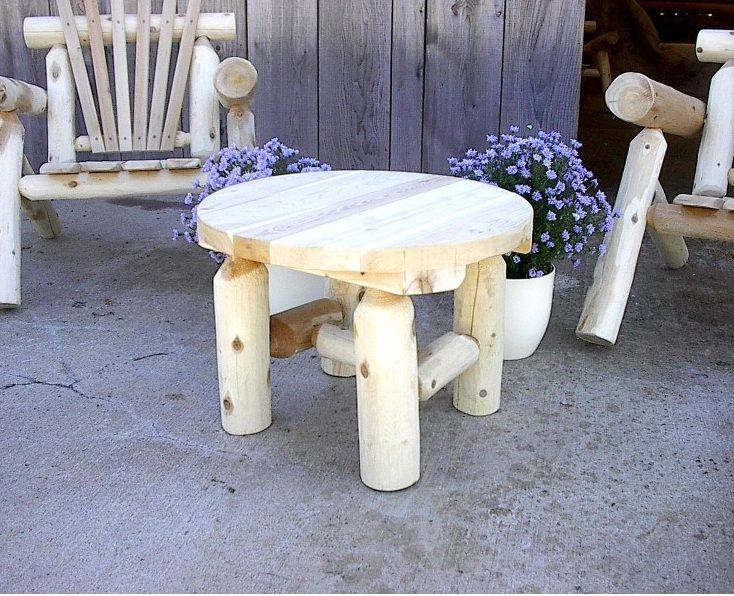 Unfinished White Cedar Log Rustic Round Coffee Table