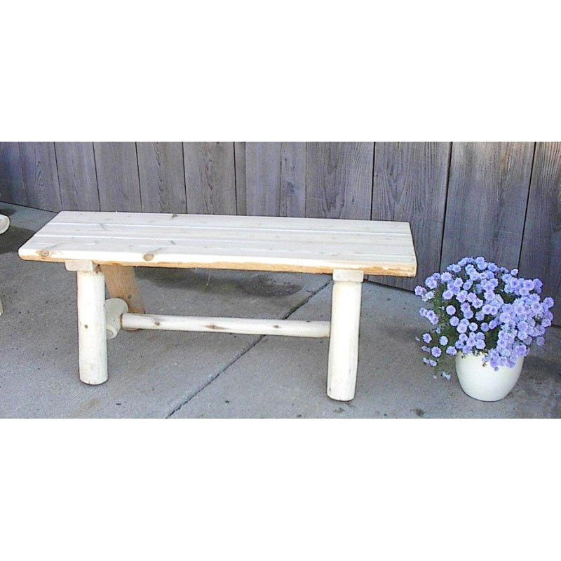 Unfinished White Cedar Log Rustic Backless Garden / Patio Bench