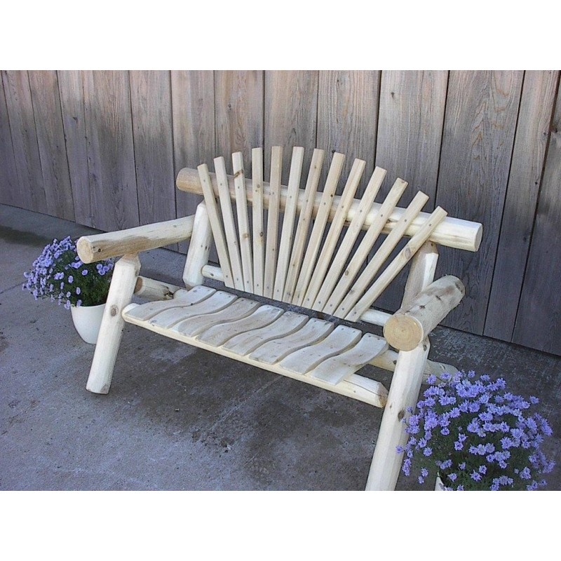 Unfinished White Cedar Log Rustic Park Bench