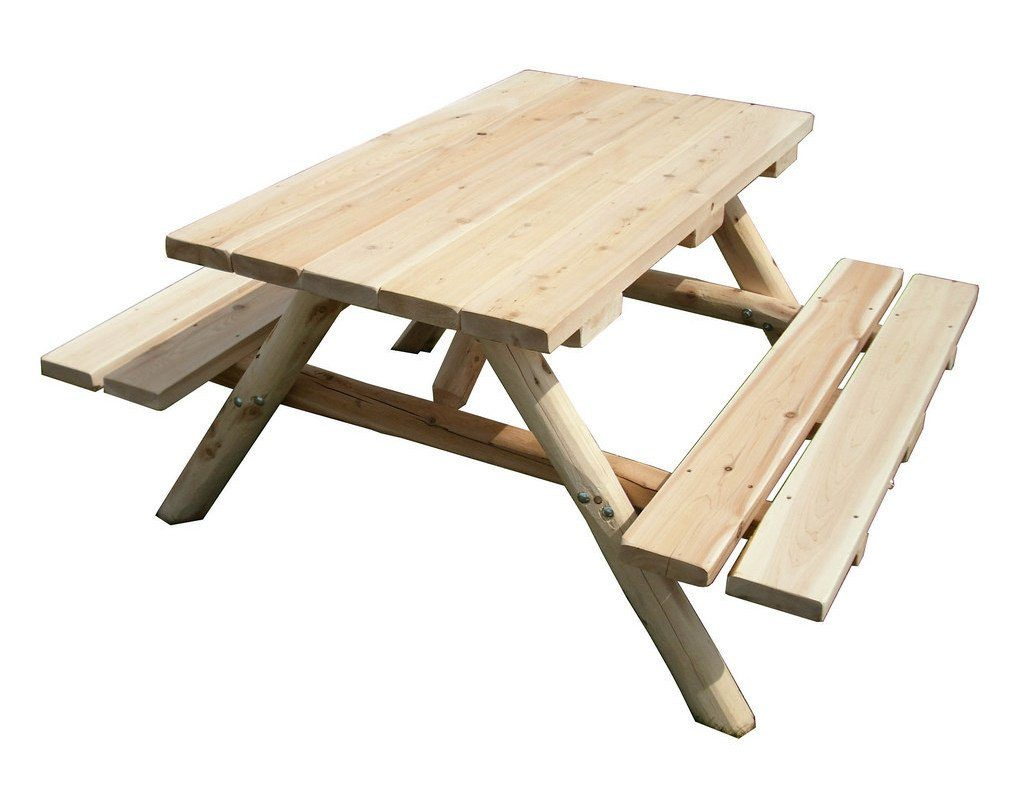 Unfinished White Cedar Log Picnic Table With Attached Benches