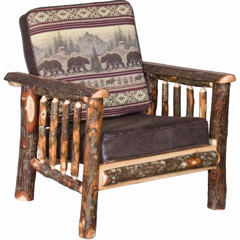Rustic Hickory Log Armchair
