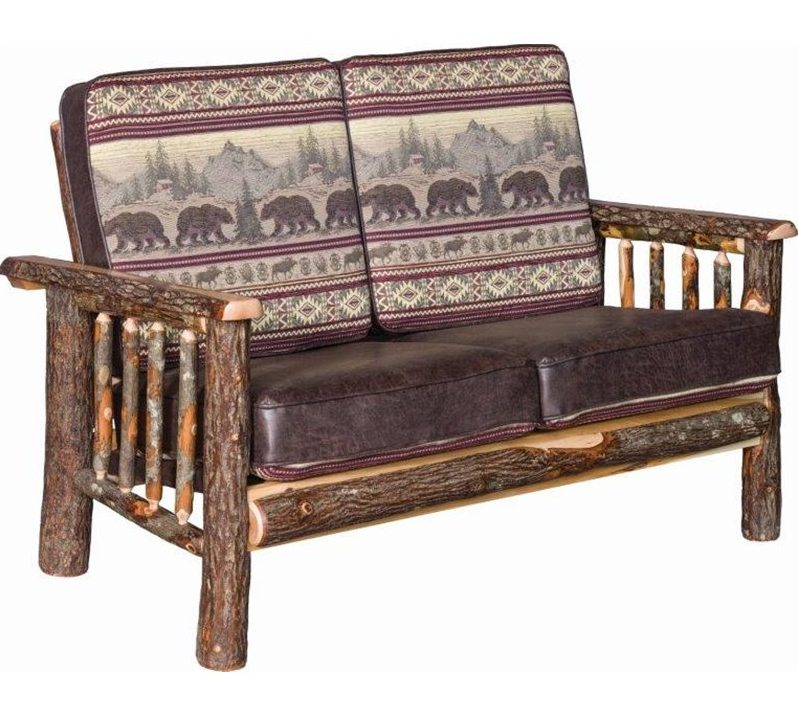 Rustic Hickory Log Faux Leather Love Seat