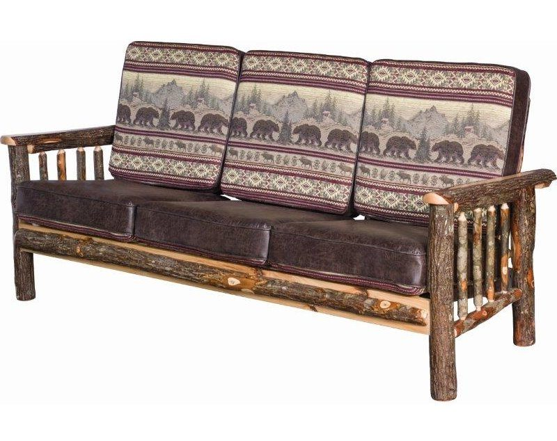 Rustic Hickory Log Faux Leather Sofa