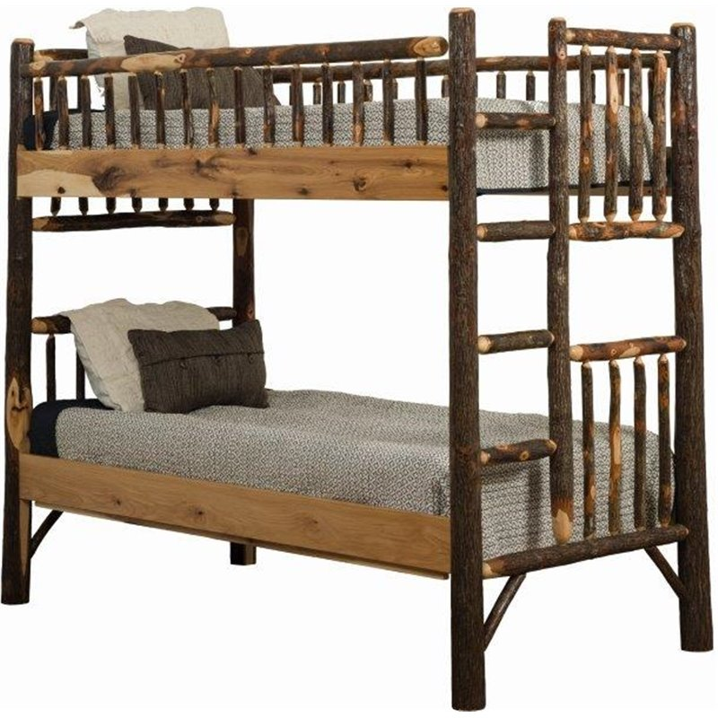 Rustic Hickory Log Bunk Bed Set – Twin Over Twin To Queen Over Queen