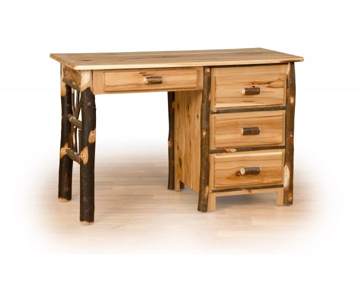 Rustic Hickory Student Desk With 4 Storage Drawers
