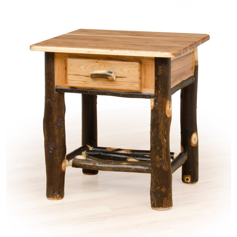Rustic Hickory 1 Drawer Nightstand