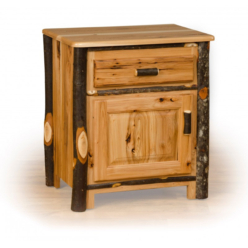 Rustic Hickory 1 Drawer And Door Nightstand