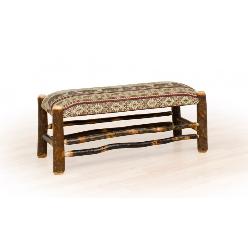 Rustic Hickory Upholstered Bench