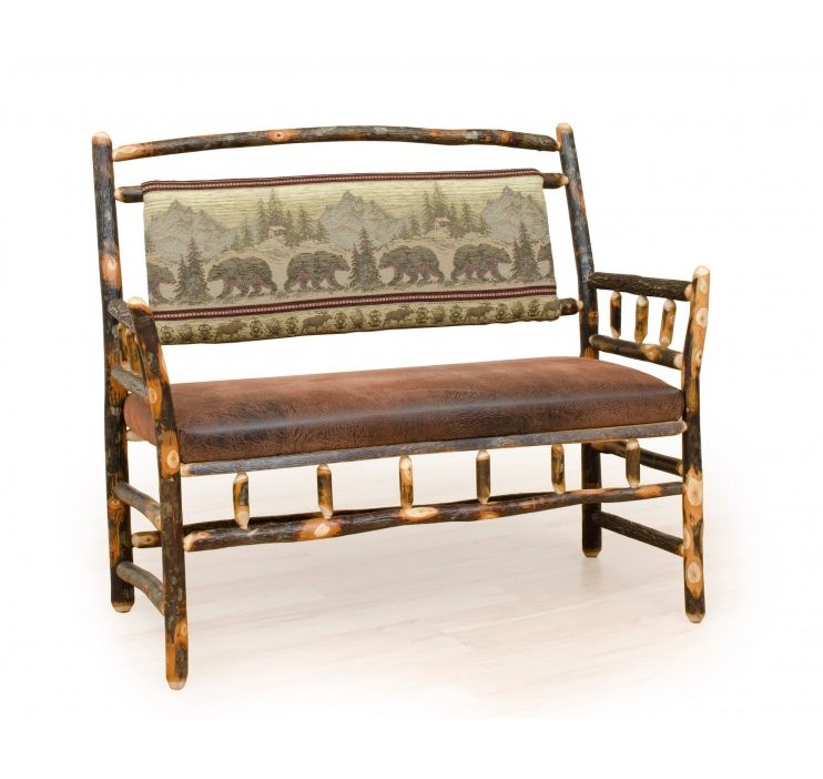 Rustic Hickory Deacon Bench – Faux Brown Leather Seat & Upholstered Back