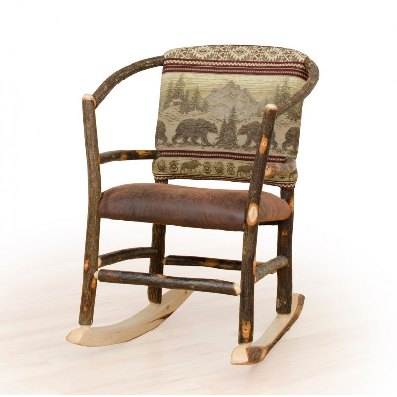 Rustic Hickory Hoop Rocking Chair – Faux Brown Leather Seat & Wild Horse Fabric