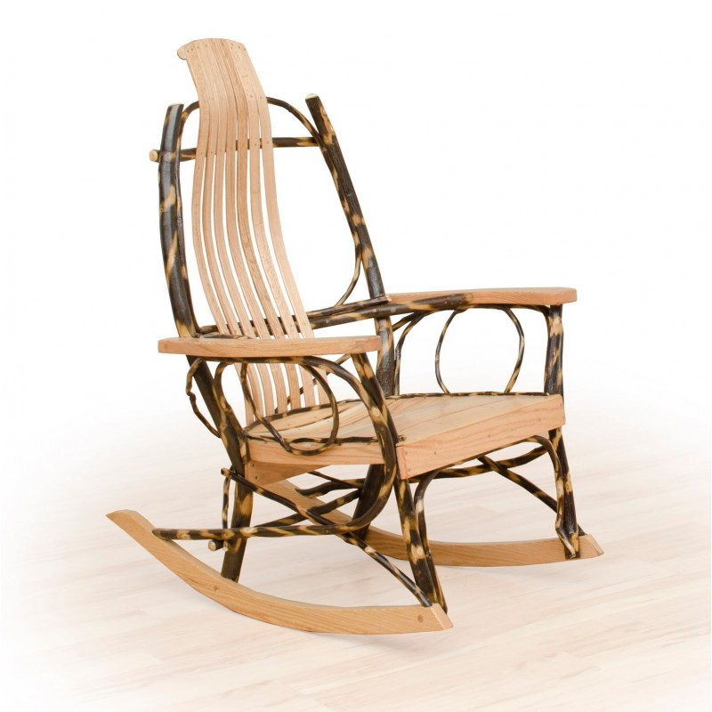 Rustic Flat Arm Hickory And Oak Rocker