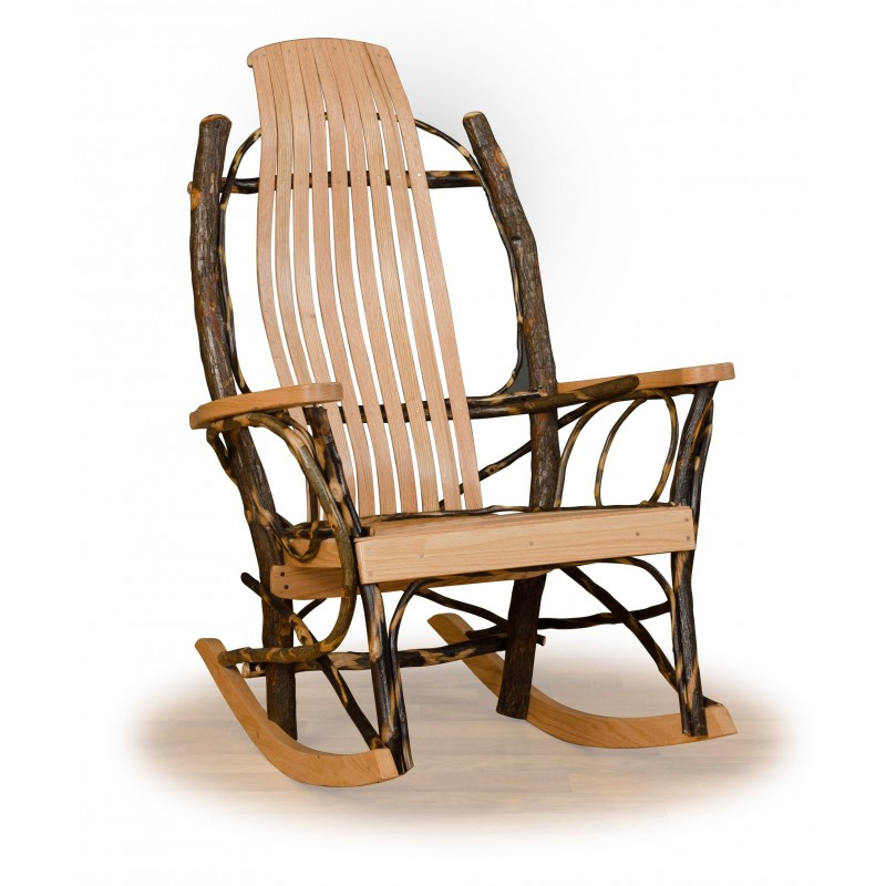 Rustic Hickory And Oak 9 Slat Flat Arm Rocker