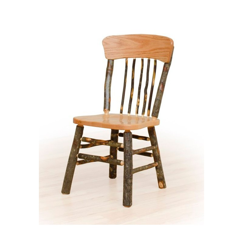 Panel Back Rustic Hickory Log Dining Chair