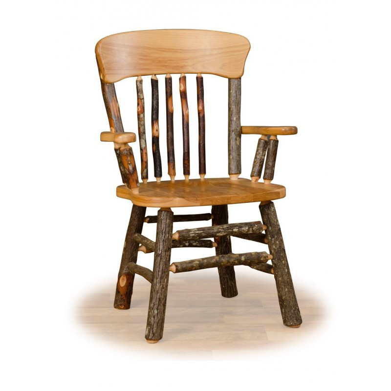 Panel Back Rustic Hickory Log Dining Chair With Arms
