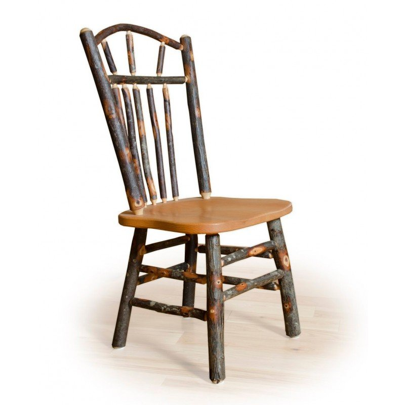 Two Wagon Wheel Rustic Dining Chairs - Hickory & Oak or All Hickory