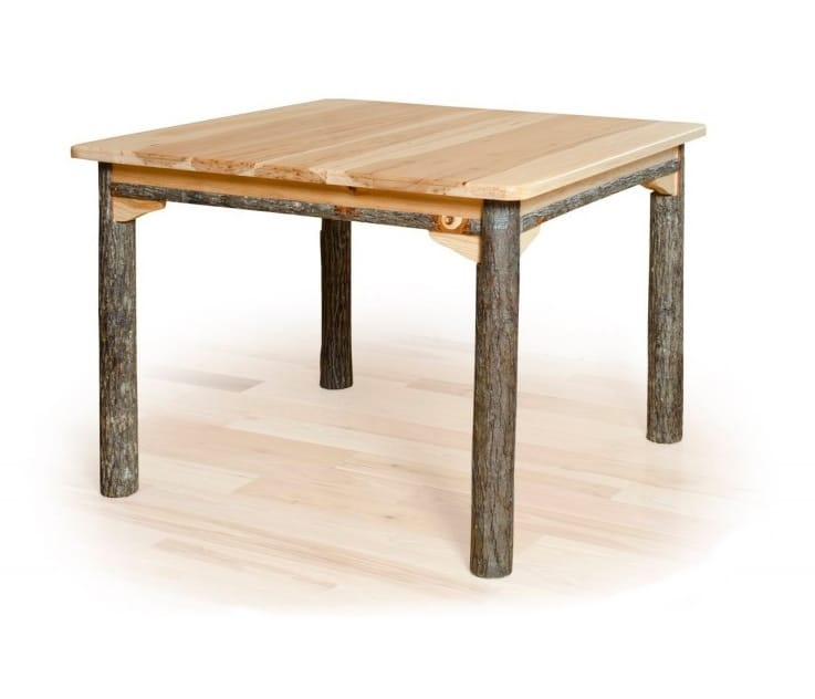 Solid Top Rustic Hickory Dining Table