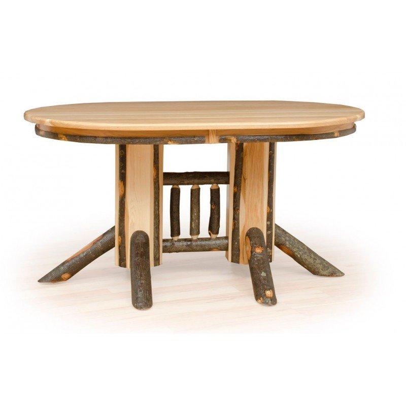 Rustic Hickory Double Pedestal Solid Top Oval Dining Table – 60 Inch