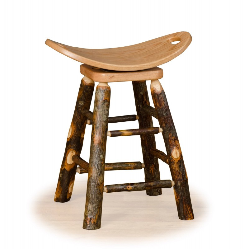 Rustic Hickory Swivel Saddle Stool – Counter Or Bar Height