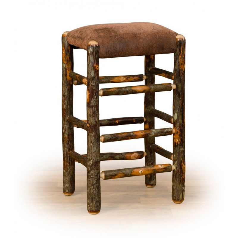 Rustic Hickory Stool With Faux Brown Leather Padded Seat – Counter Or Bar Height