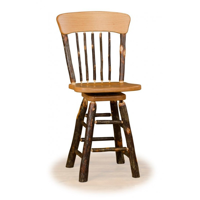 Rustic Hickory Panel Back Swivel Stool – Counter Or Bar Height