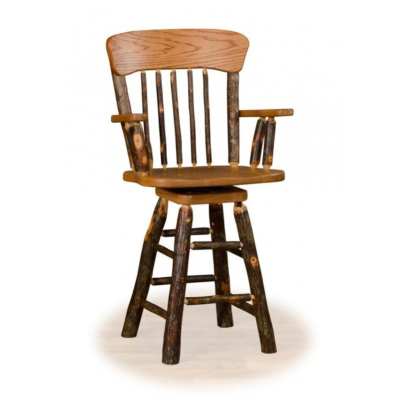 Rustic Hickory Panel Back Swivel Counter Stool With Arms – Counter Or Bar Height