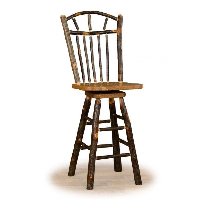 Rustic Hickory Wagon Wheel Swivel Counter Stool – Counter Or Bar Height