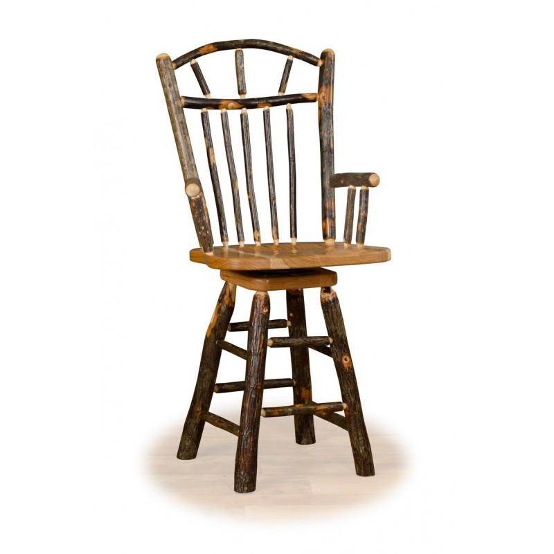 Rustic Hickory Wagon Wheel Swivel Counter Stool With Arms – Counter Or Bar Height