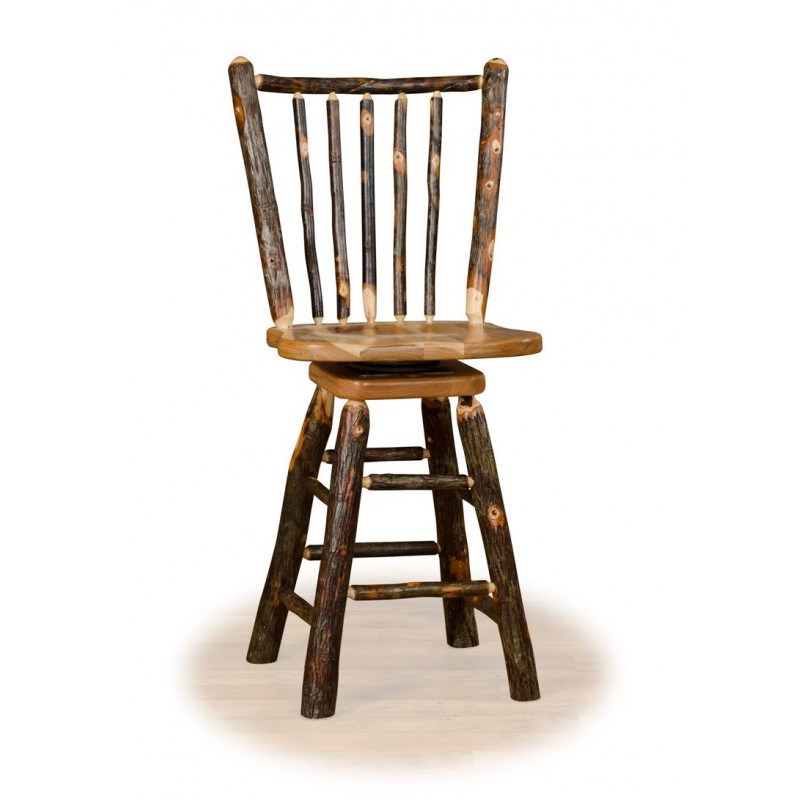 Rustic Hickory Stick Back Swivel Stool – Counter Or Bar Height