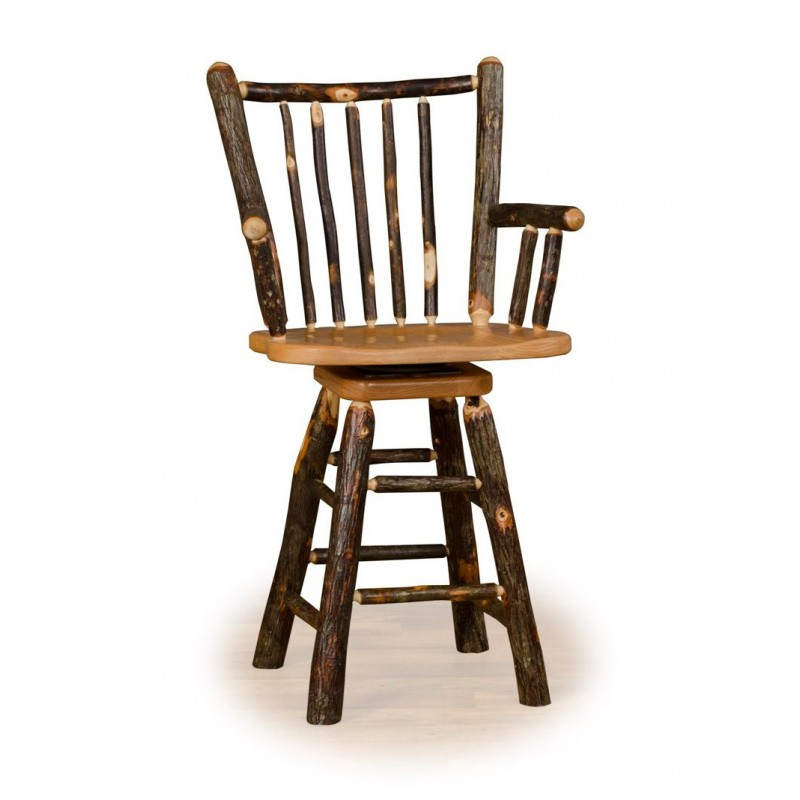 Rustic Hickory Stick Back Swivel Stool With Arms – Counter Or Bar Height