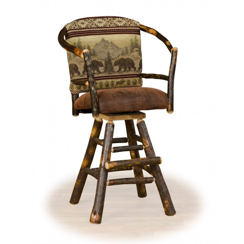 Rustic Hickory Swivel Hoop Stools – Counter Or Bar Height
