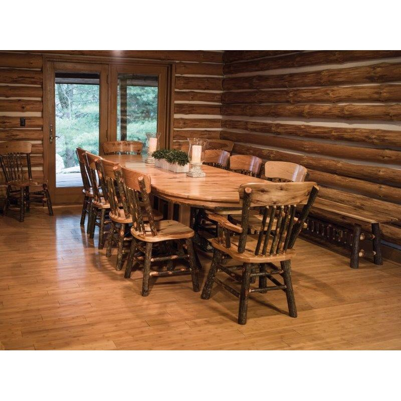 """72"""" Rustic Hickory Double Pedestal Shown with 10 Chairs"""