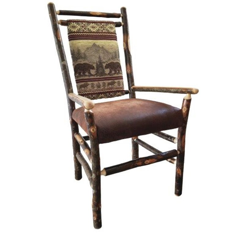 Rustic Hickory Medium Back Dining Chair With Arms