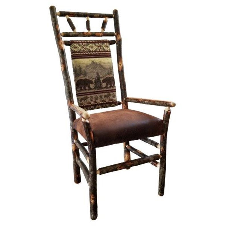 Rustic Hickory High Back Dining Arm Chair