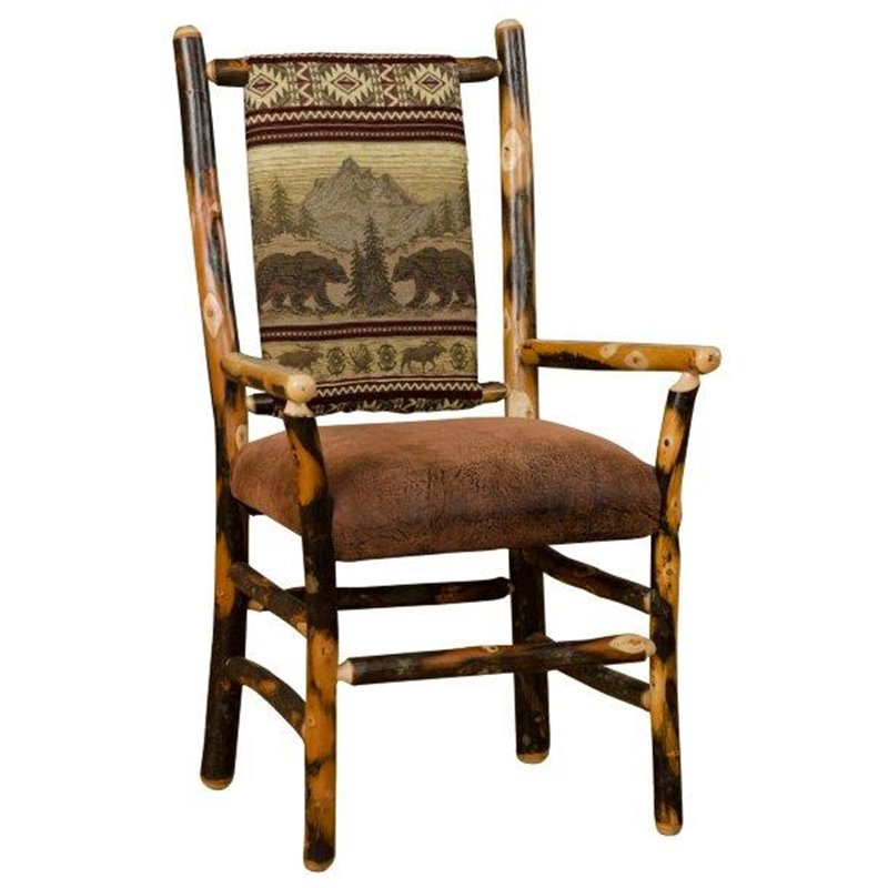 Rustic Hickory Low Back Dining Chair With Arms