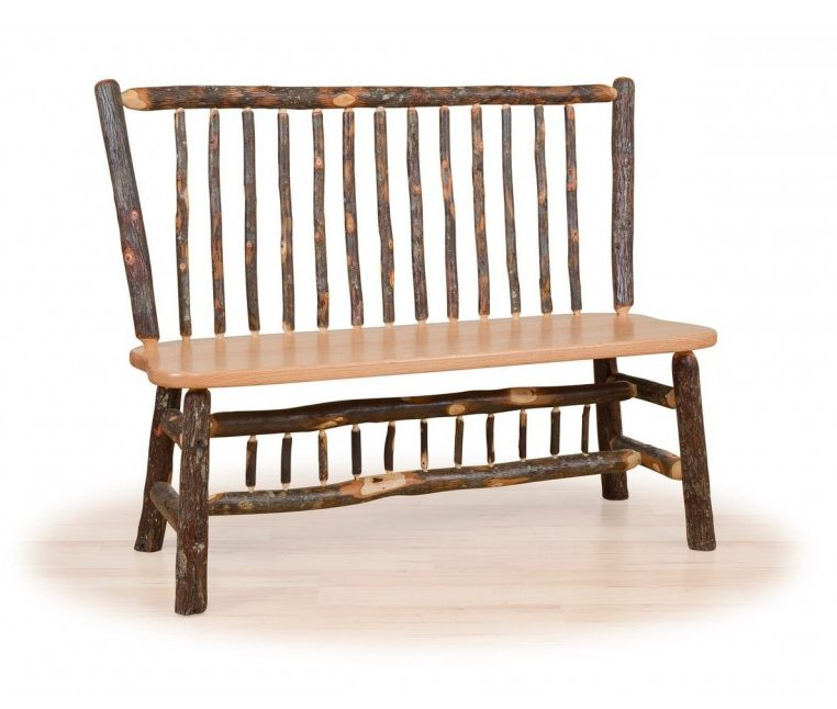 Rustic Hickory Stick Back Deacon Bench – With Or Without Arms