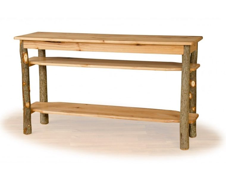Rustic Hickory Sofa Table / TV Stand – Hickory & Oak Or All Hickory