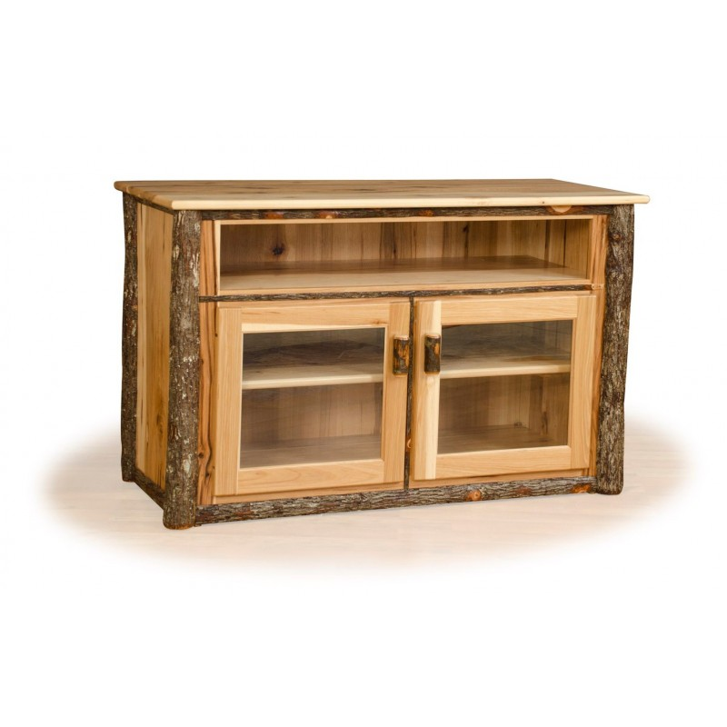 Rustic Hickory TV Stand With Glass Front Cabinet